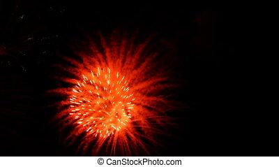 balles, grand, feux artifice, -, hd, rouges