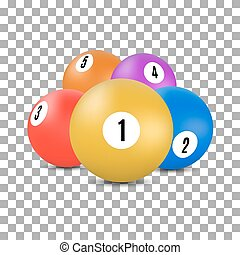 balles, illustration., billard, snooker, vecteur, 3d, style
