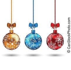 balles, -, isolé, illustration, noël, multicolore, vecteur, fond, blanc, arcs
