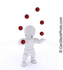 balles, jonglerie, rouges, homme
