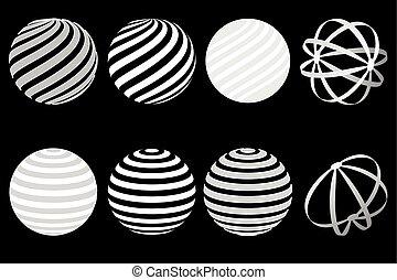 balles, logo, ensemble, globe