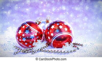 balles, loop., render, neige, seamless, arrière-plan., bokeh, rouges, scintillement, noël, argent, 3d