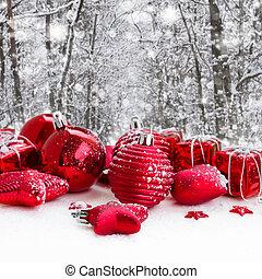 balles, noël, rouges, neigé, forêt