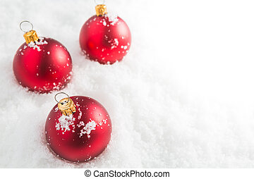 balles, noël, rouges, neige