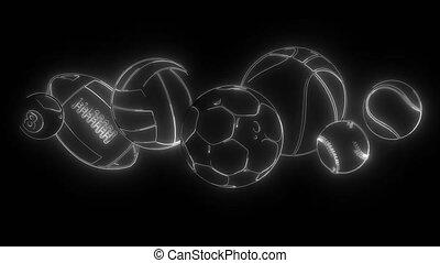 balles, numérique, sport, néon, vidéo