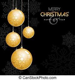 balles, or, ornement, noël, année, nouveau, babiole