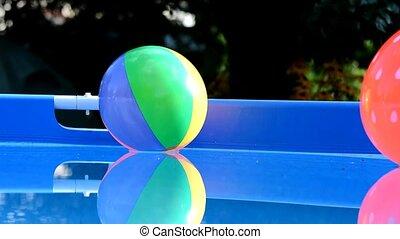 balles, plage, piscine