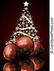 balles, résumé, arbre, couleurs, fond, noël, rouges