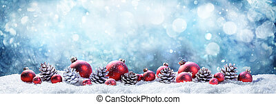 balles, scène neigeuse, wintery, noël, pinecones