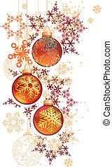 balles, snowflakes., illustration, joli, pendre, branché, noël