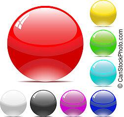balles, varicolored, isolé, arrière-plan., vecteur, blanc