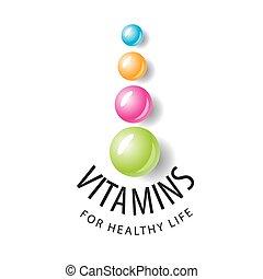 balles, vitamines, formulaire, vecteur, logo, coloré