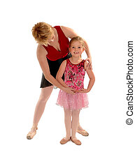 ballet, étudiant, enfant, enseignement, girl, maîtresse
