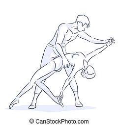 ballet, baile, moderno, flexible, niña, hombre