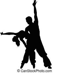 ballet, baile, niña, y, niño, silhouett