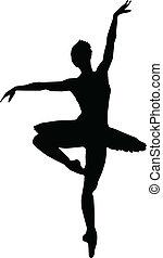 ballet, baile, -, siluetas, vector, niña