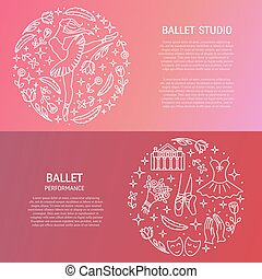 Ballet banners with circle emblem