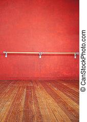 Ballet Bar Against Wall In Studio - Ballet bar against red ...