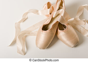 ballet, blanco, zapato, plano de fondo