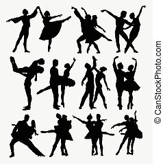 Ballet couple dancer silhouettes