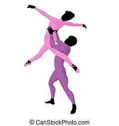 Ballet Couple Illustration Silhouet - Ballet couple...