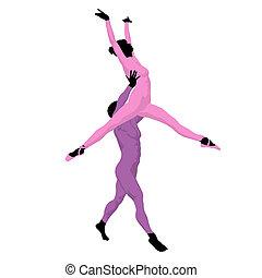 Ballet Couple Illustration Silhouette - Ballet couple...