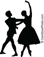 Ballet dance girl and boy silhouettes vector