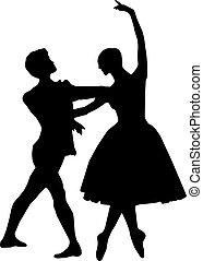 Ballet dance silhouettes
