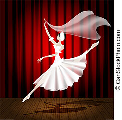 ballet dancer - against the background of the stage and red...