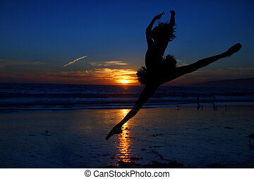 Ballet Dancer at Sunset Outdoors