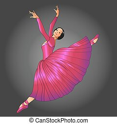 ballet dancer - dancer in red dress jumping on a gray ...