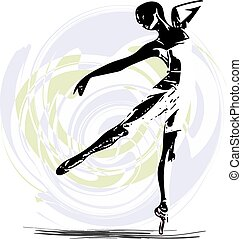 Ballet Dancer illustration - abstract sketch of beautiful ...