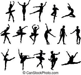 ballet dancer silohuettes set