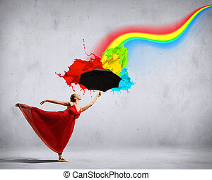 Ballet dancer in flying silk dress with umbrella - ballet...