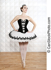 Ballet Dancer in Traditional Pancake Performance Outfit -...