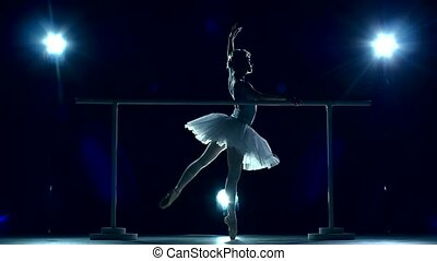 ballet dancer in white tutu on a Blue, slow motion - classic...