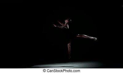 ballet dancer isolated on black background