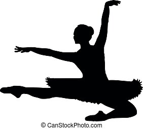 ballet dancer jumping with tutu ballet dress, lottie. silhouette