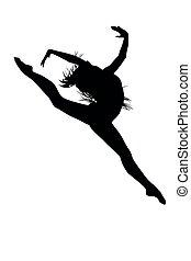 ballet dancer jumping without tutu ballet dress, lottie. silhouette