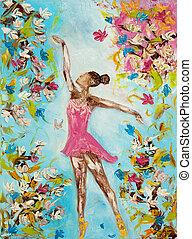Ballet dancer - Original oil painting showing beautiful ...