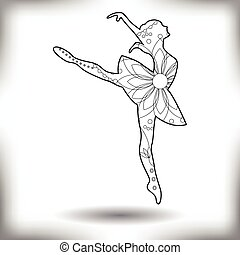 Ballet dancer painted silhouette isolated on white