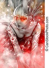 Ballet dancer, sensual blonde woman with tutu, fantasy art