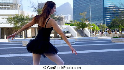 Ballet dancer standing in ballet position 4k - Ballet dancer...