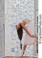 ballet dancer with beautiful long hair