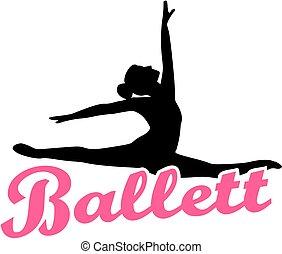 Ballet dancer with german retro ballett word