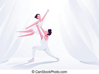Ballet dancers couple performance flat color vector ...
