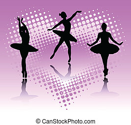 ballet dancers on the abstract background  - vector