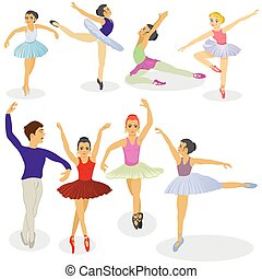 ballet dancers - illustration of ballet dancers in different...