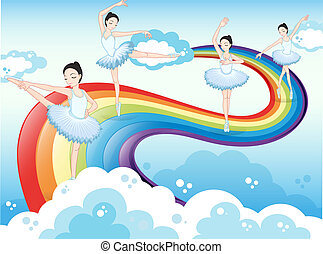 Ballet dancers in the sky with a rainbow