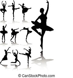 Ballet dancers silhouettes collection - vector